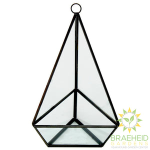 Empty Black Jewel Glass Terrarium With Hanger