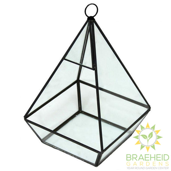 Empty Pyramid Glass TerrariumWith Hanger