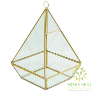 Empty Gold Pyramid Glass Hanging Terrarium