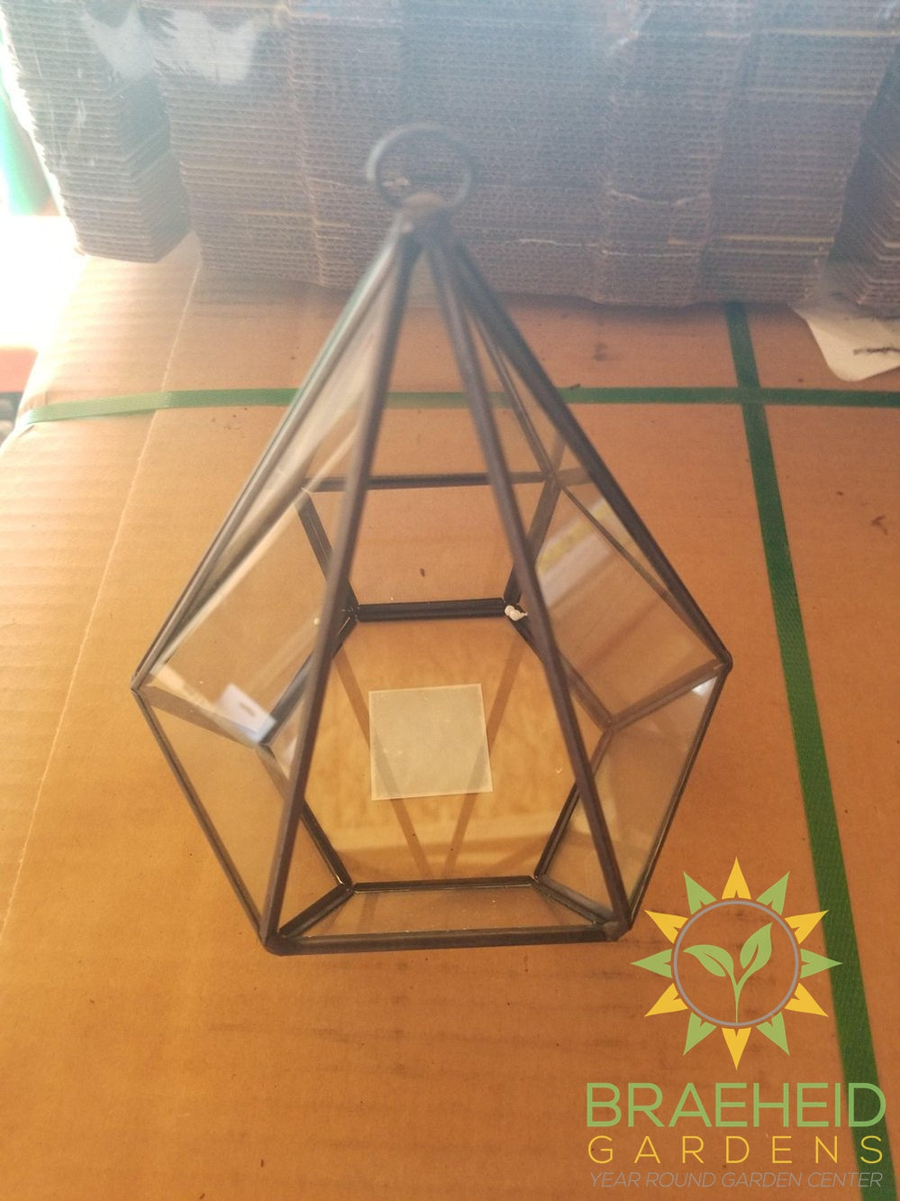 Empty Hanging Geometric 6 Sided Pyramid