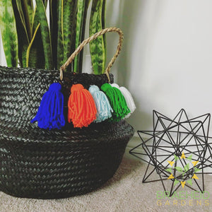 All Black Dyed Basket (Optional Tassels) VT 11