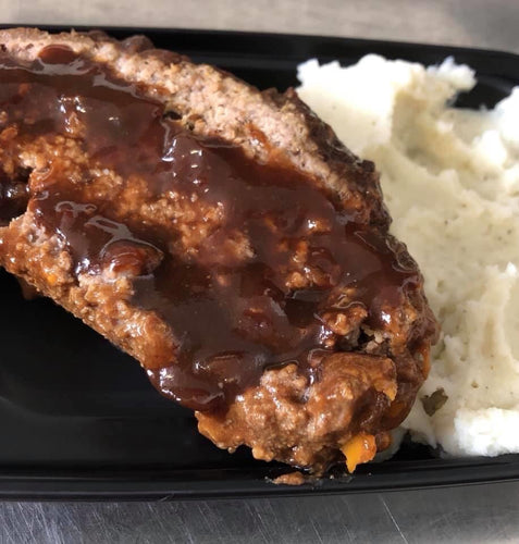 Meatloaf with Mashed Potatoes and green side salad