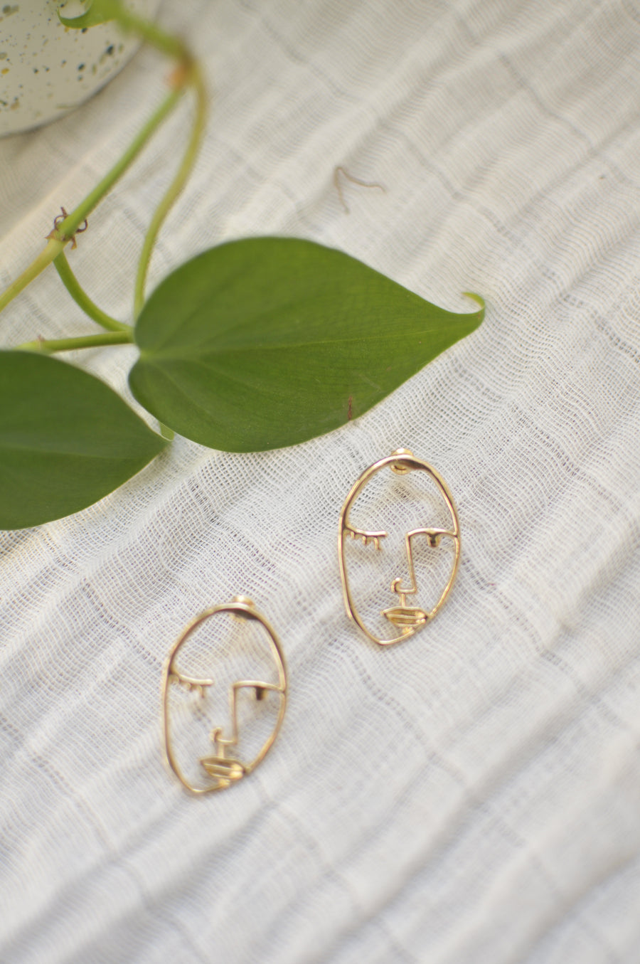 Abstract Face Post Earrings