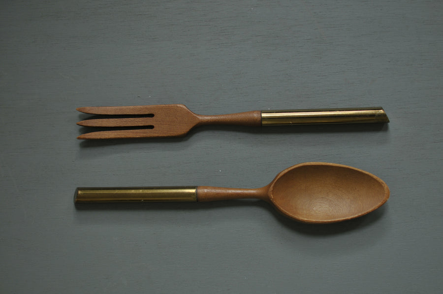 Wooden Fork and Spoon with Gold Handle