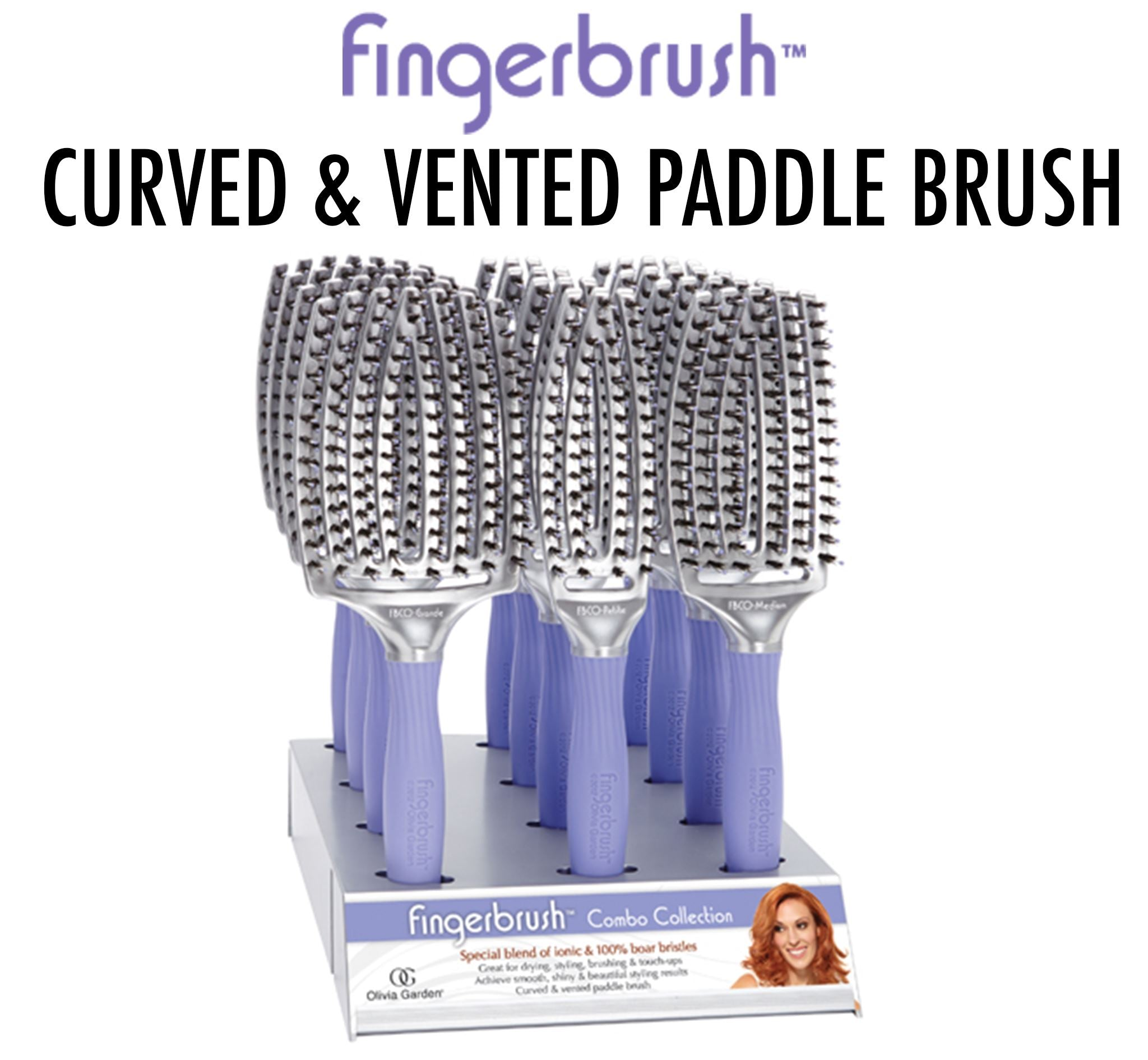 Fingerbrush - Curved & Vented Paddle Brush