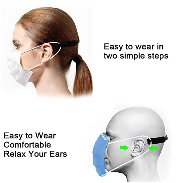 Adjustable Silicone Mask Extender/Ear Saver | 4 PCS | HUINI | SHSalons.com