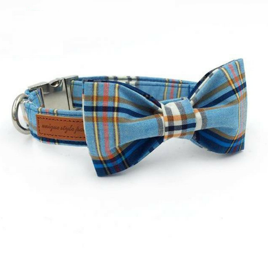 Blue Plaid Dog Bow Tie Collar