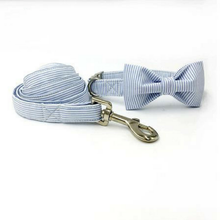 Blue and White Striped Dog Bow Tie Collar