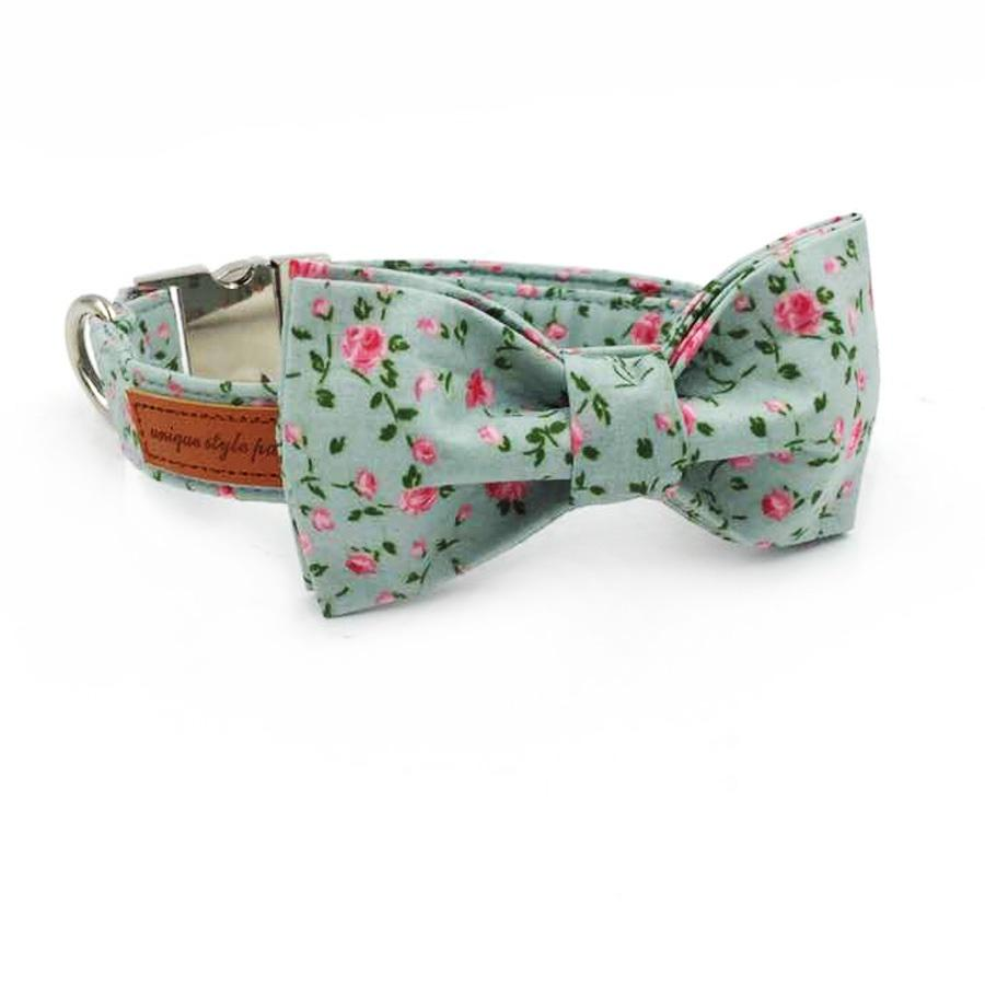 Mint Rose Dog Bow Tie Collar