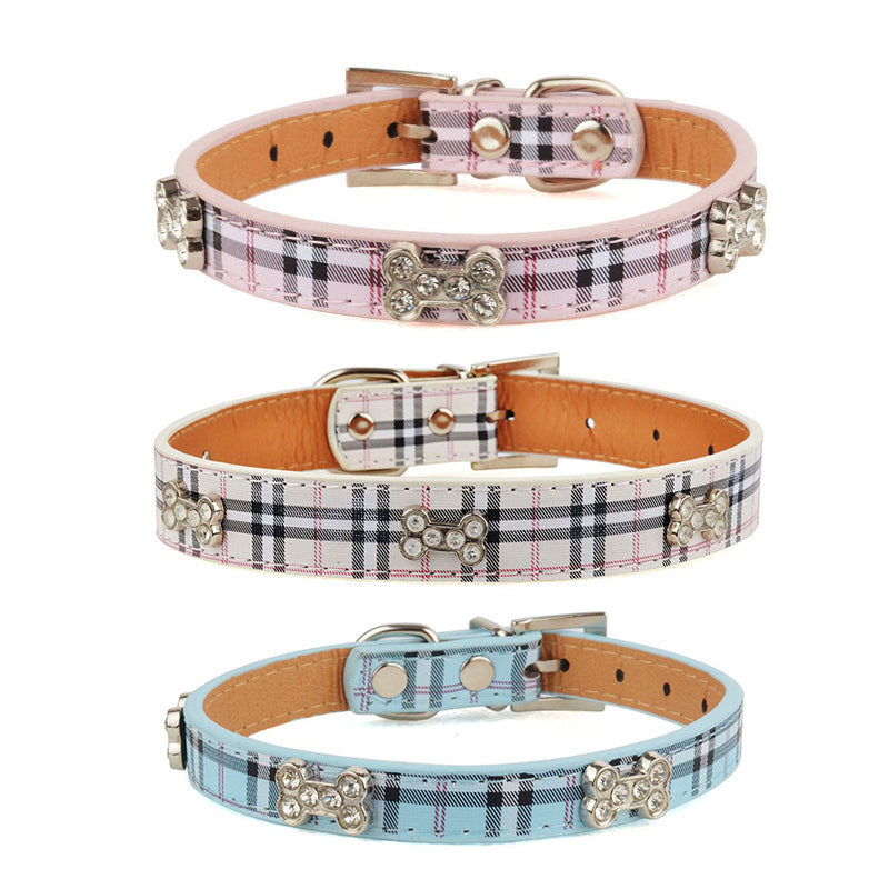 Plaid Rhinestone Bone Dog Collar
