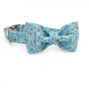 Blue Floral Dog Bow Tie Collar