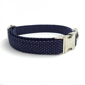 Navy Dot Dog Bow Tie Collar