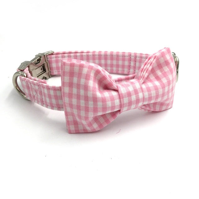 Pink Gingham Dog Bow Tie Collar
