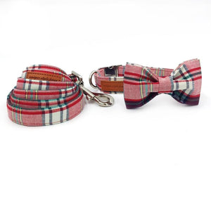 Pink Plaid Dog Bow Tie Collar