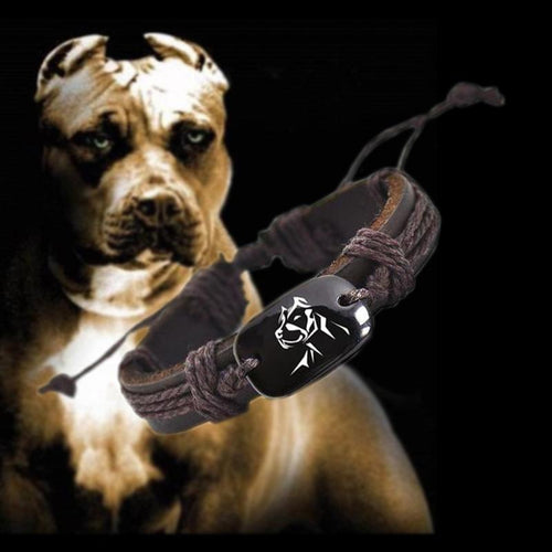 Vintage Style Braided Rope Leather Pitbull Bracelet