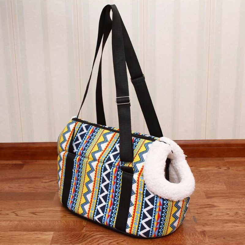 Soft Tribal Print Shoulder Bag Pet Carrier