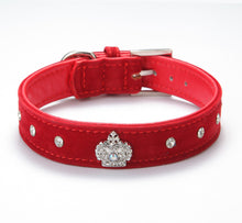 Royal Crown Velvet Leather Rhinestone Dog Collar