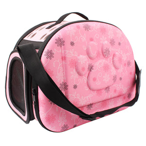 Floral Foldable Paw Print Pet Carrier