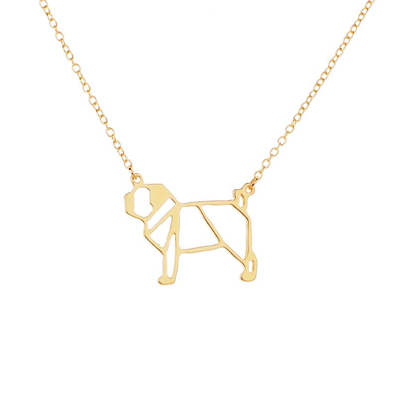 Origami Chain Pug Pendant Necklace