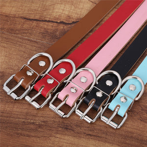 Solid Color Genuine Leather Dog Collar