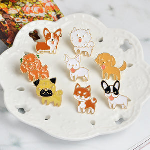 Kawaii Dog Metal Enamel Brooch Pin