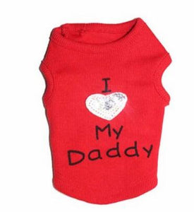 I Love My Mommy I Love My Daddy Pet T-Shirt