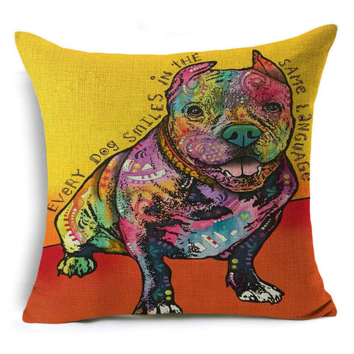 Pitbull Linen-Cotton Throw Pillow Cover
