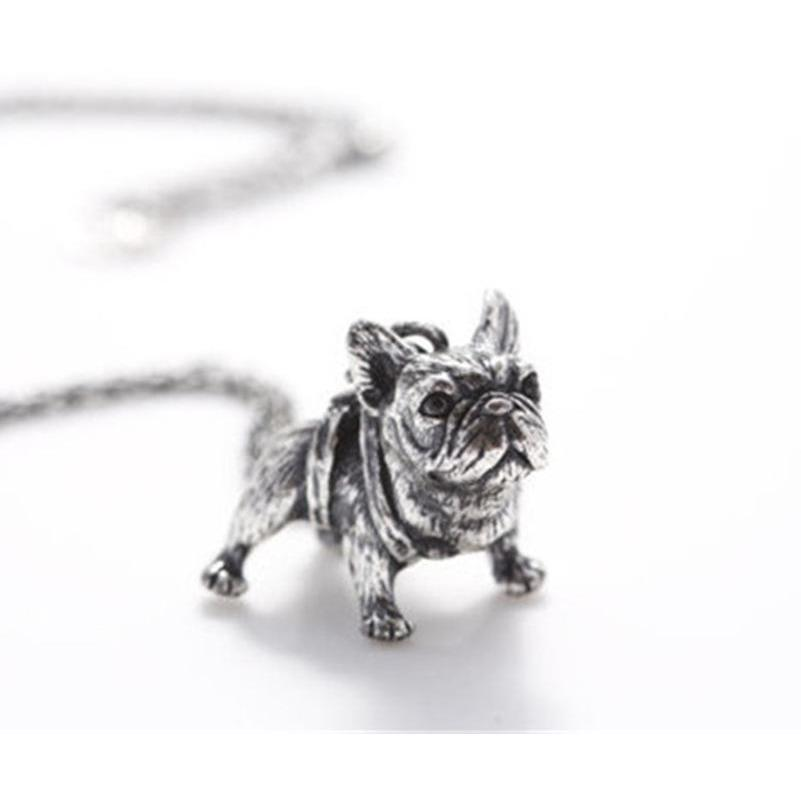 Antique Long Chain French Bulldog Necklace