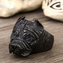 Men's Punk Stainless Steel Pitbull Head Ring