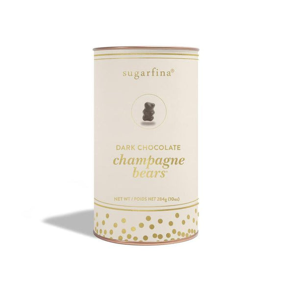 Dark Chocolate Champagne Bears Gift Canister
