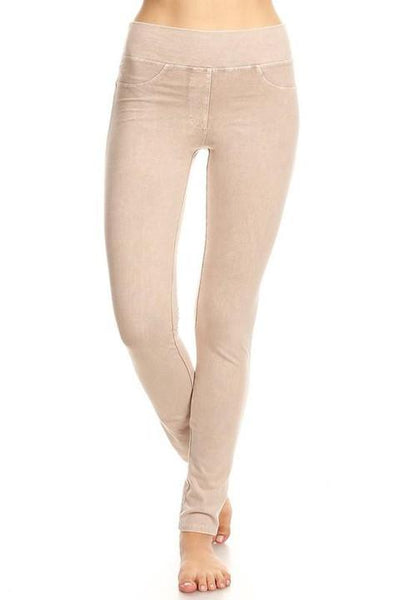 Taupe Washed Jeggings