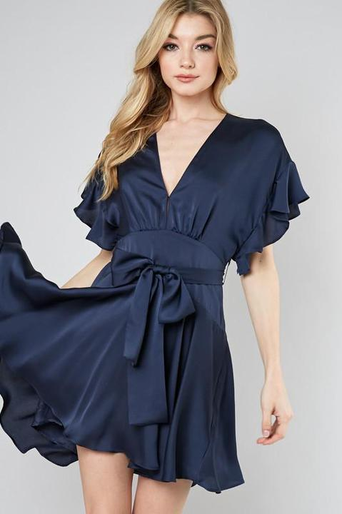 Satin Flare Sash Dress