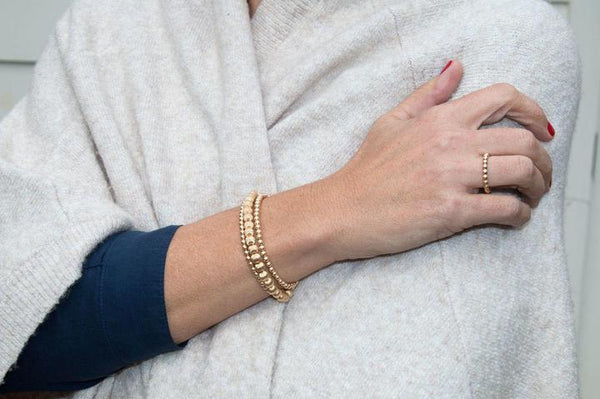 Classic Beaded Gold Ring