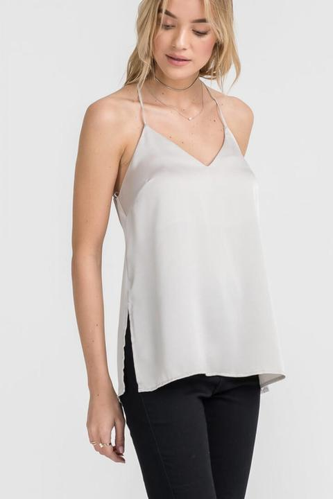 Steel Slit Silk Tank