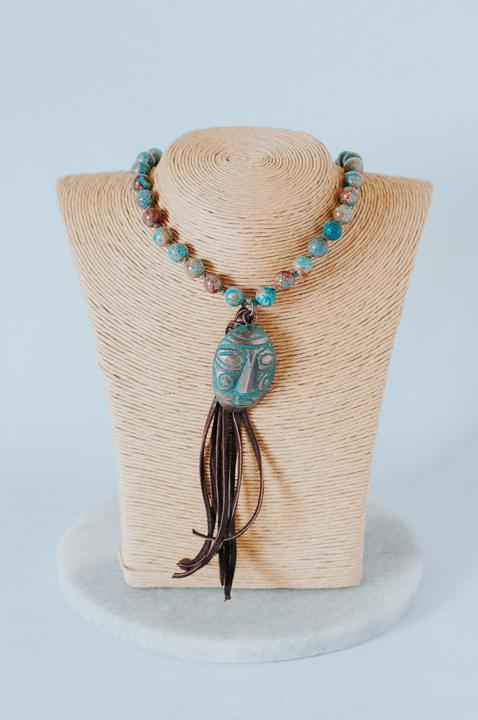 Chrysocolla Pearl Knotted Tassel Necklace