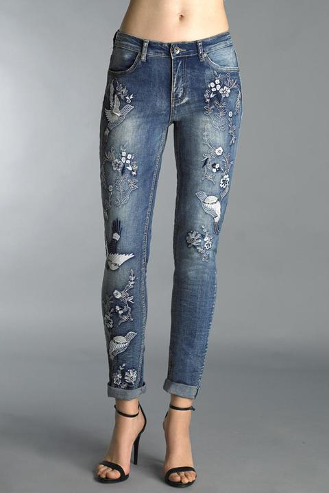 Funky Embroidered Denim Jeans
