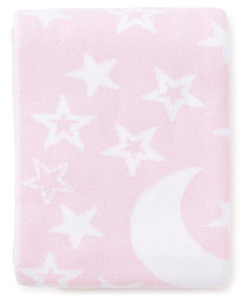 Pink Moon & Star Knit Novelty Blanket