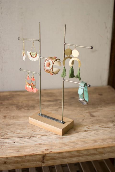Wood and Metal Jewelry Rack