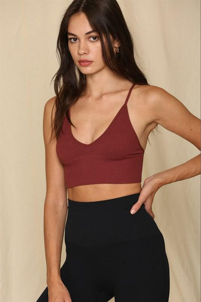 Burgundy Ribbed Crop Brami