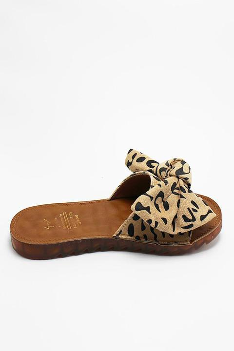 Taupe Bow Leopard Sandal