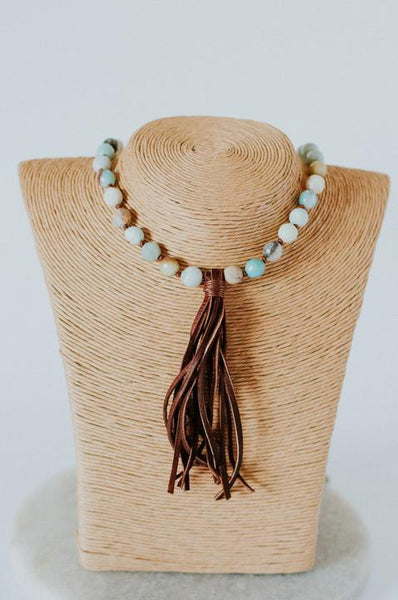 Amazonite Pearl Knotted Tassel Necklace