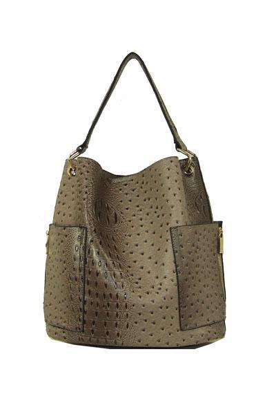 Croc Brown Oversized Hobo Vegan Leather Tote