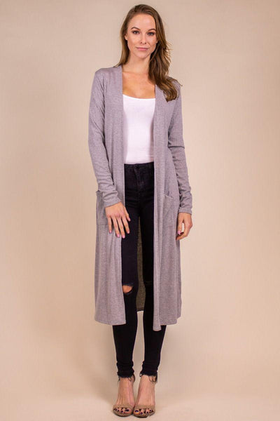 Grey Ribbed Duster