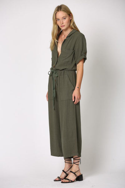 Gauze Button Jumpsuit