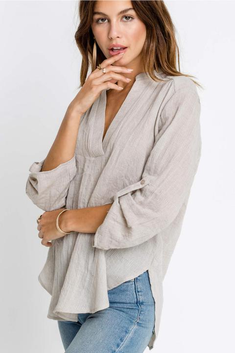 Cotton Gauze Taupe Top