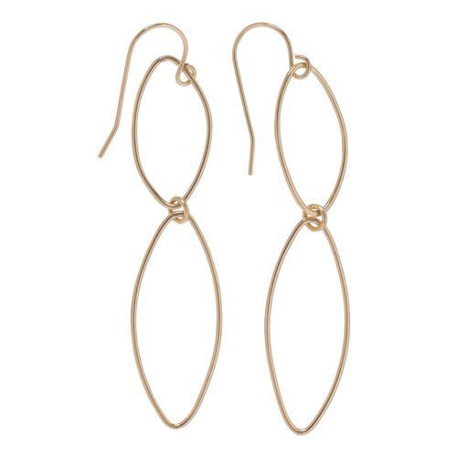Double Marquis Smooth Gold Earrings