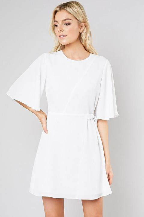 Flutter White Wrap Dress