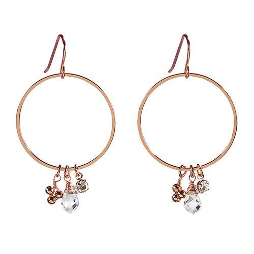 Rose Gold Dangle Hoop Earrings