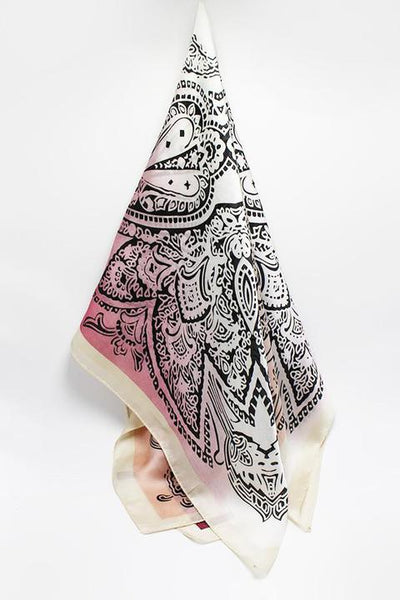 Pink Paisley Silk Scarf