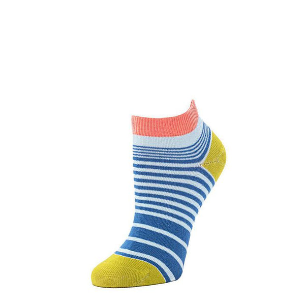 Resort Stripes Anklet Sock - Cornflower + Fern